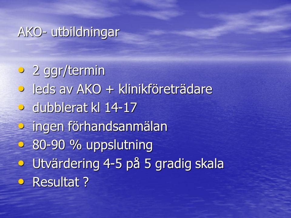 AKO- utbildningar 2 ggr/termin. leds av AKO + klinikföreträdare. dubblerat kl 14-17. ingen förhandsanmälan.