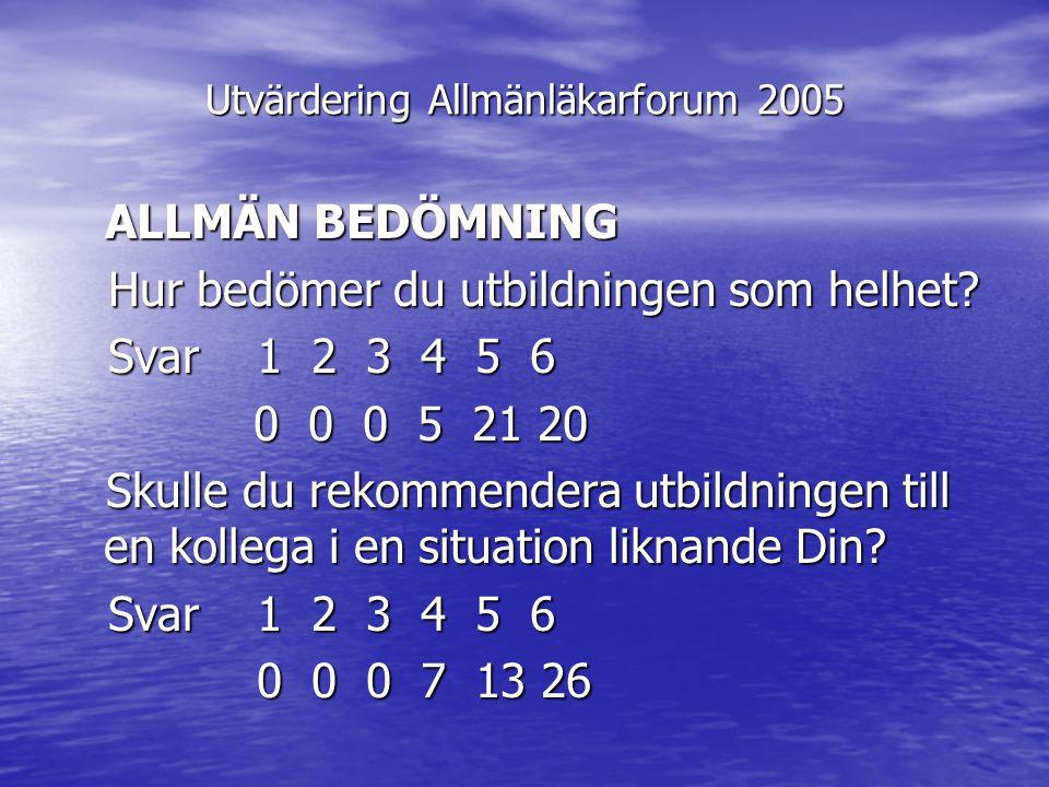 Utvärdering Allmänläkarforum 2005