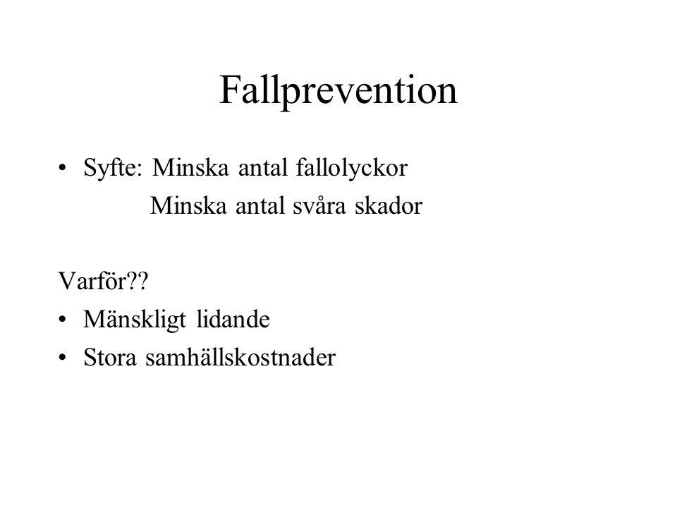 Fallprevention Syfte: Minska antal fallolyckor