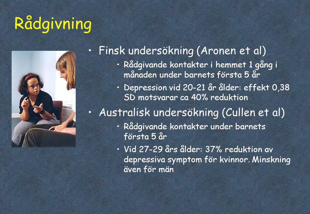 Rådgivning Finsk undersökning (Aronen et al)