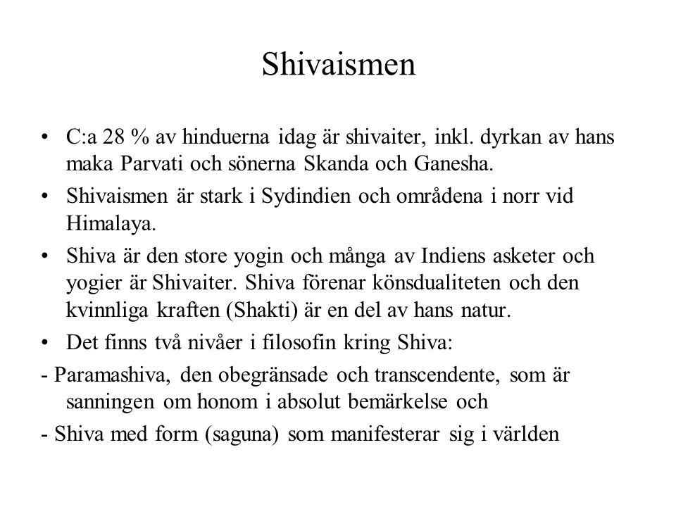 Shivaismen C:a 28 % av hinduerna idag är shivaiter, inkl. dyrkan av hans maka Parvati och sönerna Skanda och Ganesha.