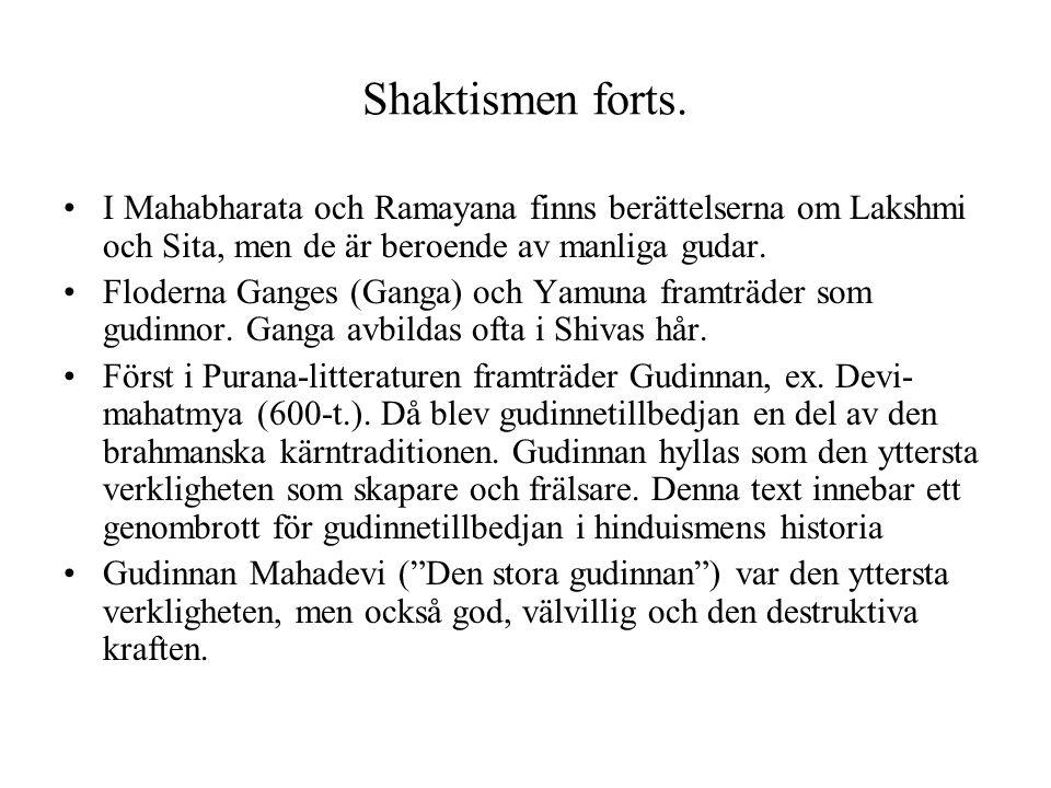Shaktismen forts. I Mahabharata och Ramayana finns berättelserna om Lakshmi och Sita, men de är beroende av manliga gudar.