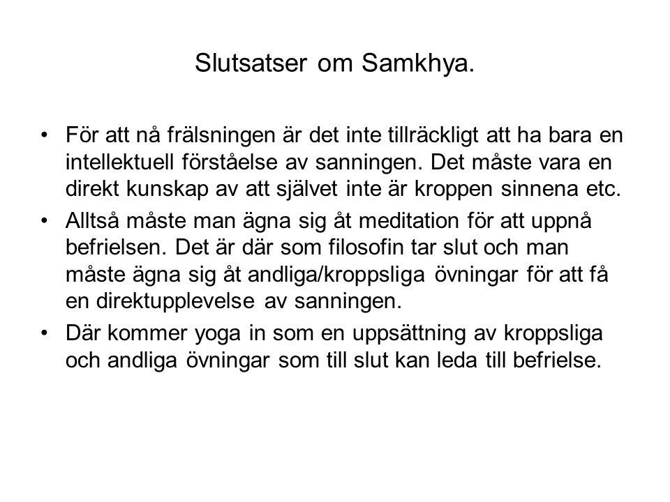 Slutsatser om Samkhya.