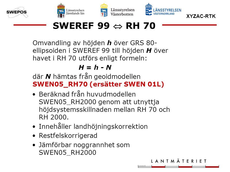 SWEREF 99  RH 70 Omvandling av höjden h över GRS 80-ellipsoiden i SWEREF 99 till höjden H över havet i RH 70 utförs enligt formeln: