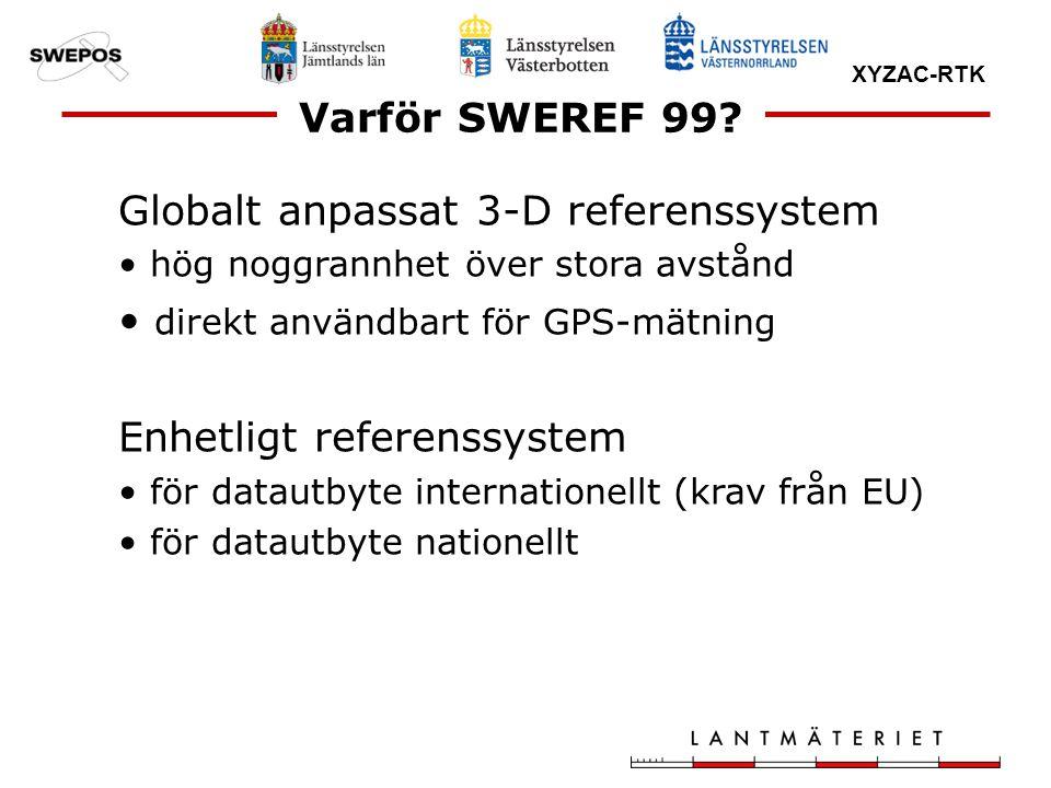Globalt anpassat 3-D referenssystem direkt användbart för GPS-mätning