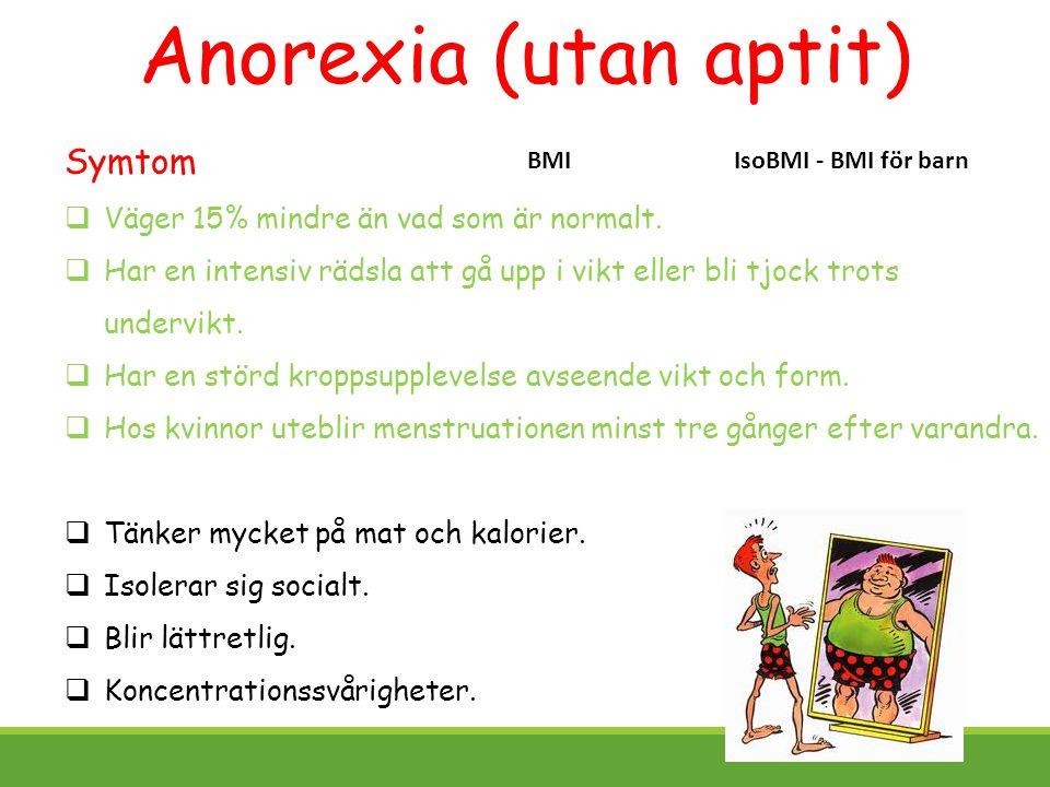 Anorexia (utan aptit) Symtom Väger 15% mindre än vad som är normalt.