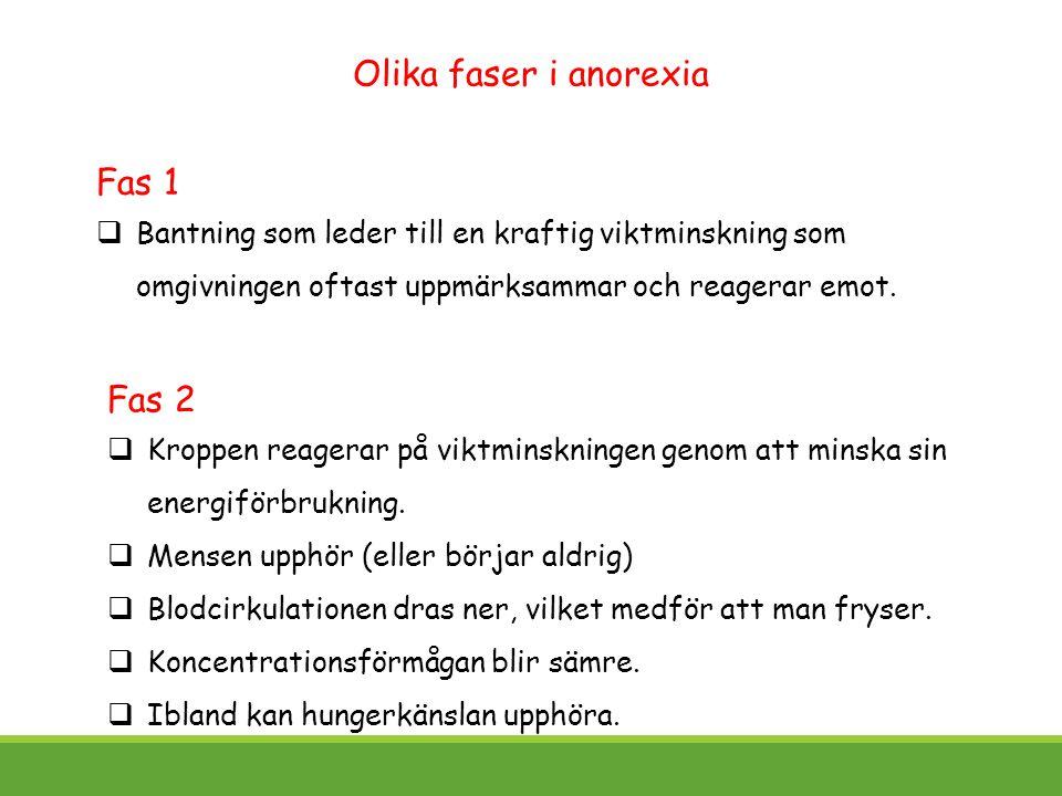 Olika faser i anorexia Fas 1 Fas 2