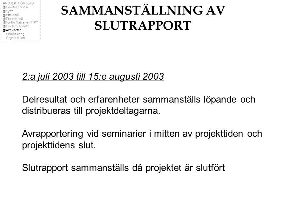 SAMMANSTÄLLNING AV SLUTRAPPORT