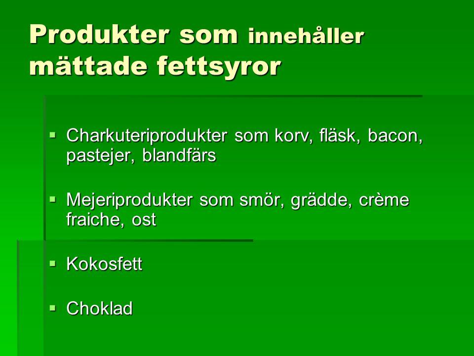 Produkter som innehåller mättade fettsyror