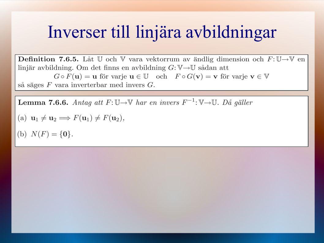 Inverser till linjära avbildningar