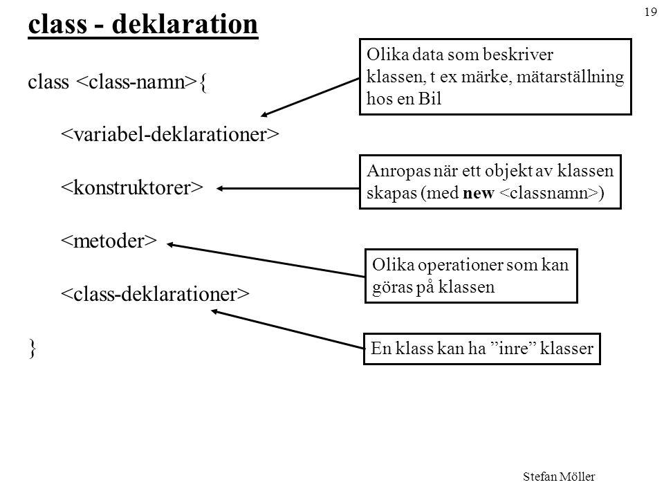 class - deklaration class <class-namn>{