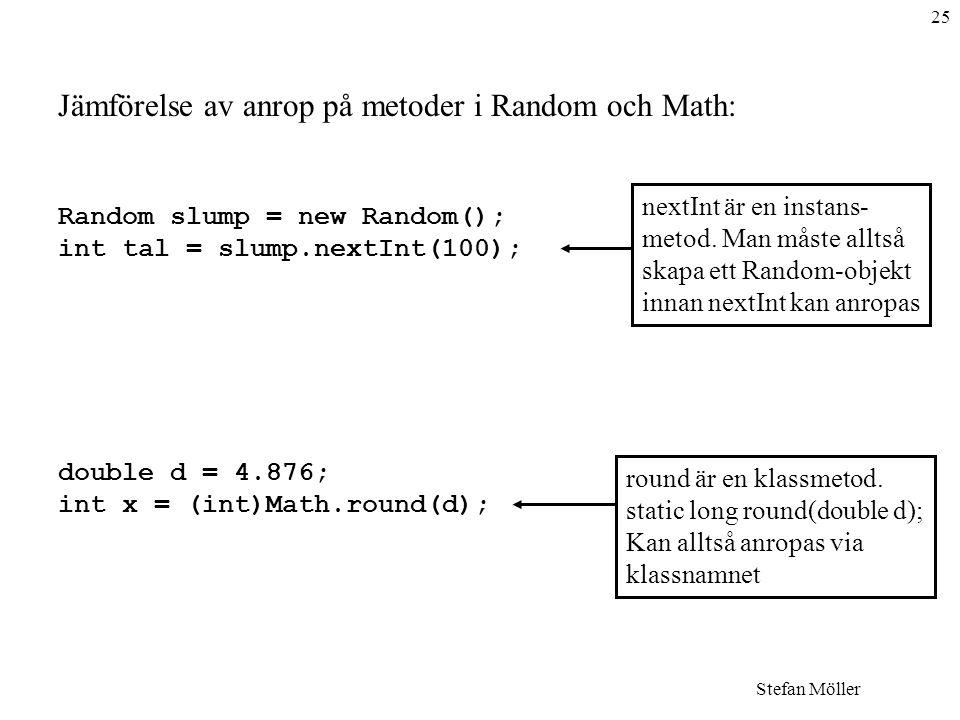 Jämförelse av anrop på metoder i Random och Math: