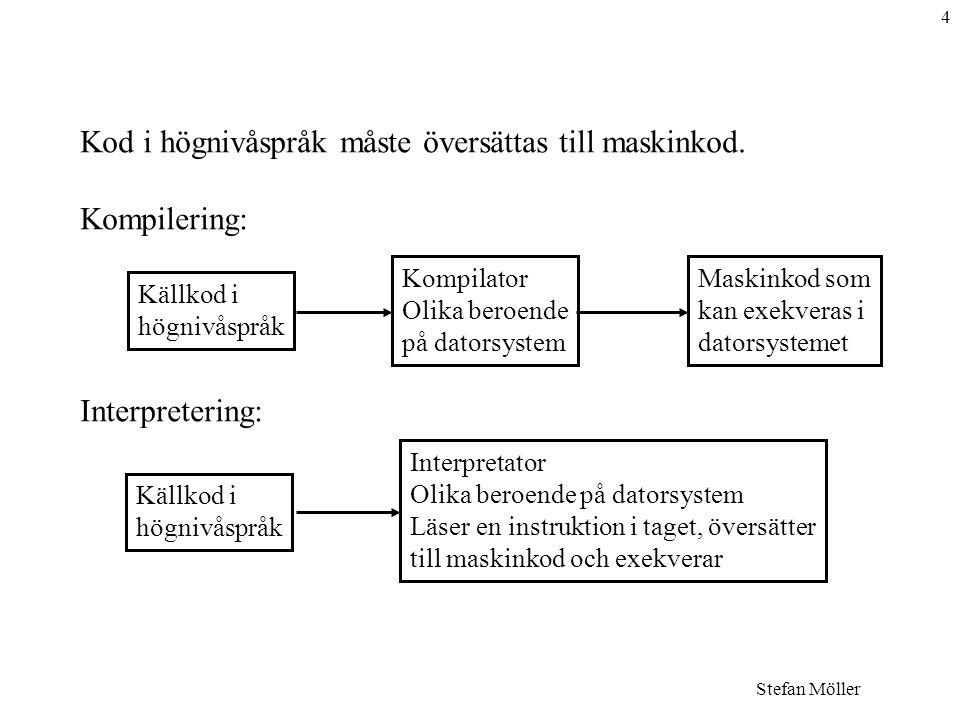 Kod i högnivåspråk måste översättas till maskinkod. Kompilering: