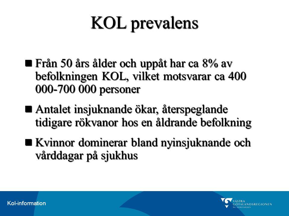 KOL prevalens Från 50 års ålder och uppåt har ca 8% av befolkningen KOL, vilket motsvarar ca 400 000-700 000 personer.