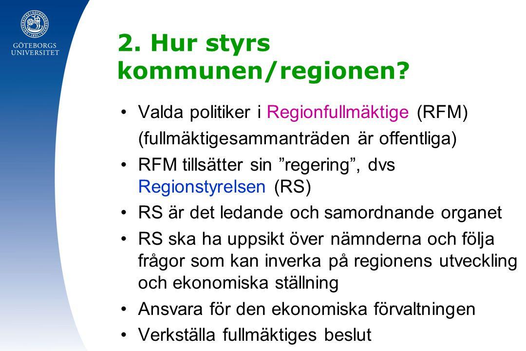2. Hur styrs kommunen/regionen