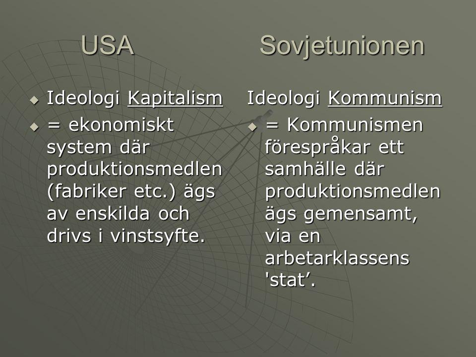 USA Sovjetunionen Ideologi Kapitalism