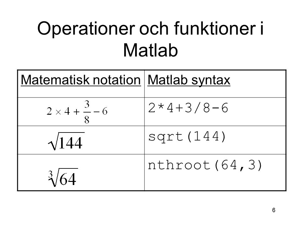 Operationer och funktioner i Matlab