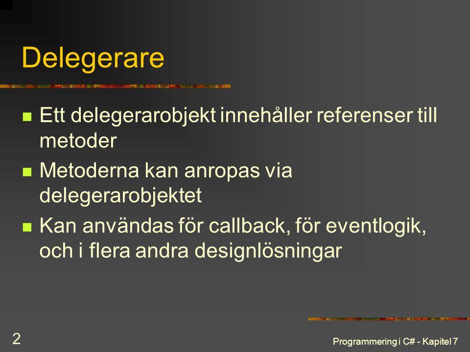 Delegerare Ett delegerarobjekt innehåller referenser till metoder