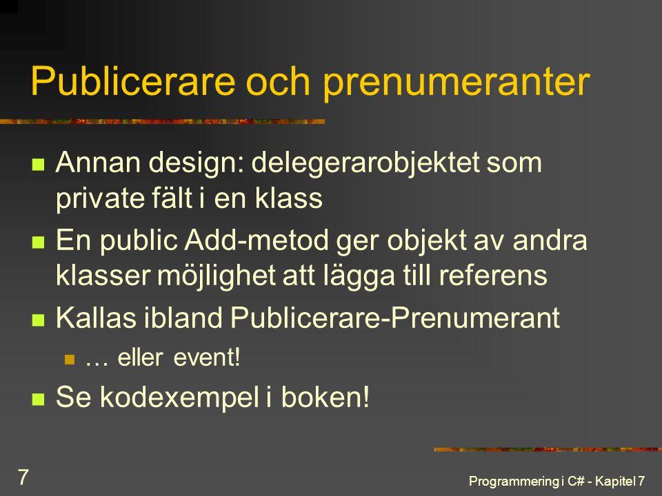 Publicerare och prenumeranter