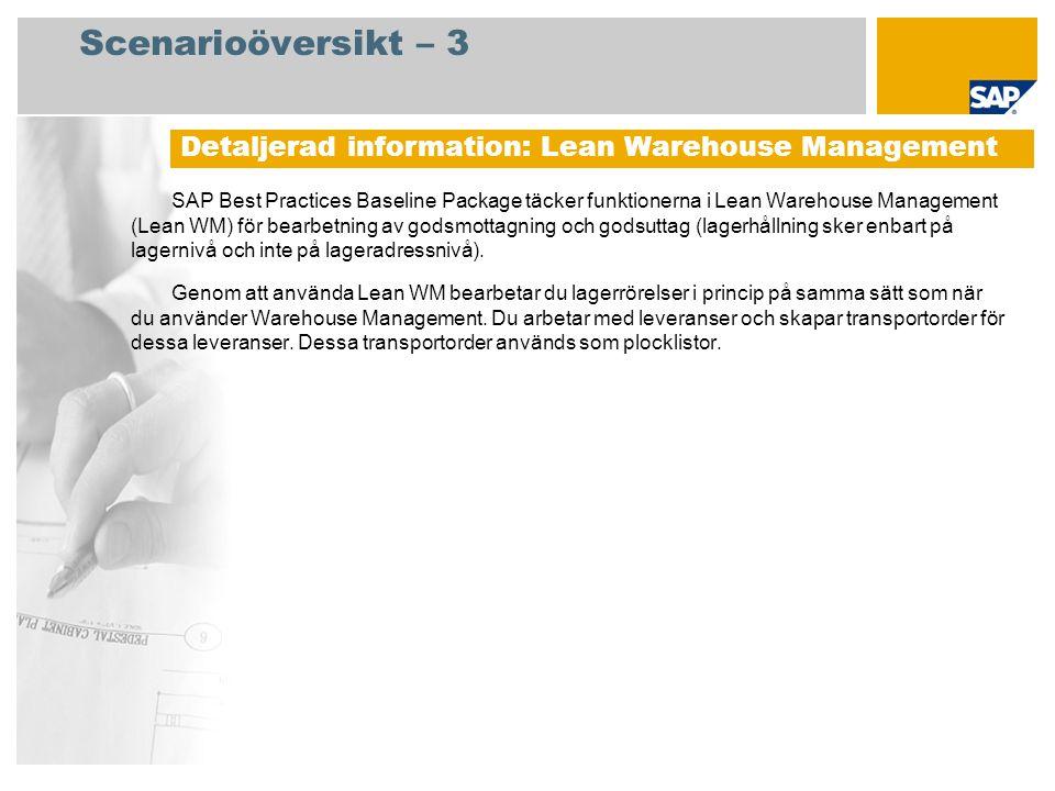Scenarioöversikt – 3 Detaljerad information: Lean Warehouse Management