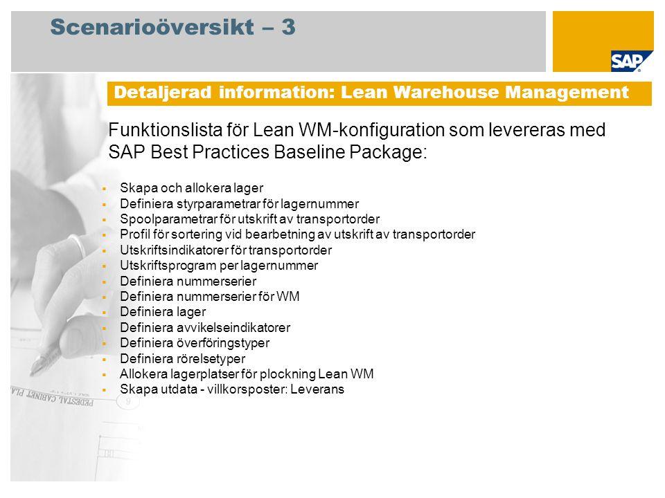 Scenarioöversikt – 3 Detaljerad information: Lean Warehouse Management.