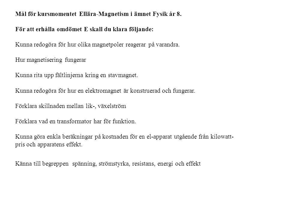 Mål för kursmomentet Ellära-Magnetism i ämnet Fysik år 8.