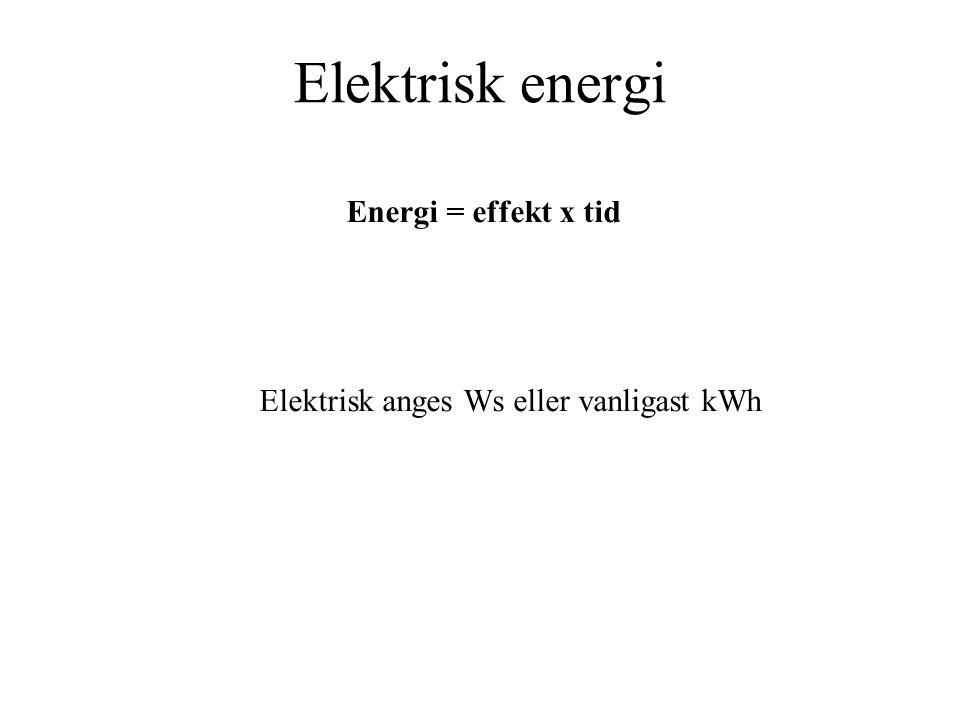 Elektrisk anges Ws eller vanligast kWh
