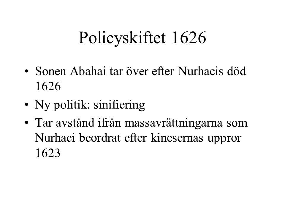 Policyskiftet 1626 Sonen Abahai tar över efter Nurhacis död 1626