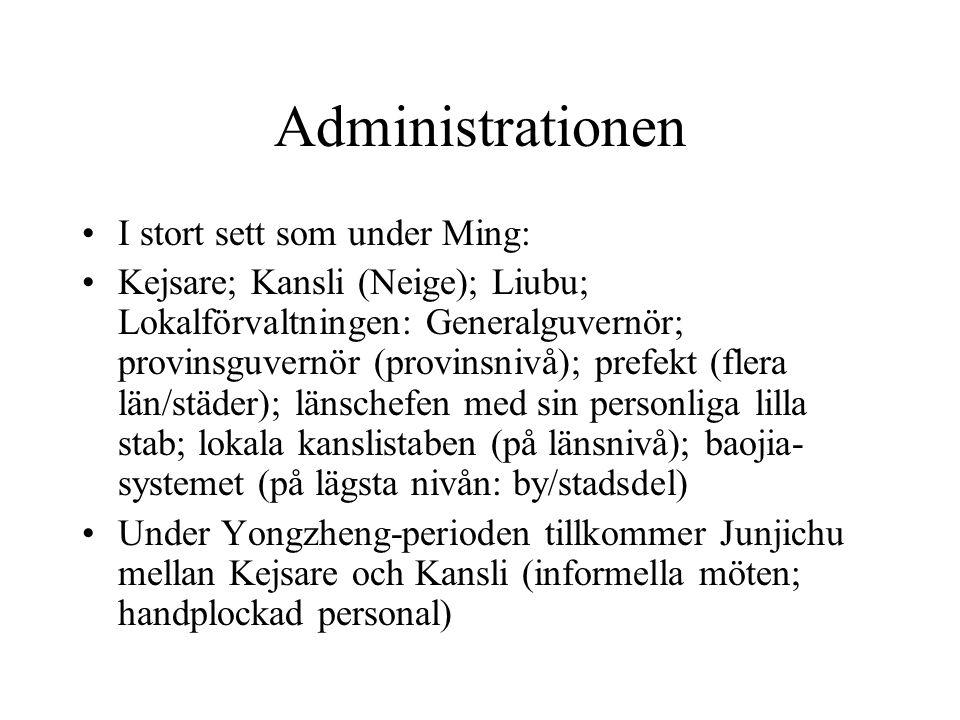 Administrationen I stort sett som under Ming: