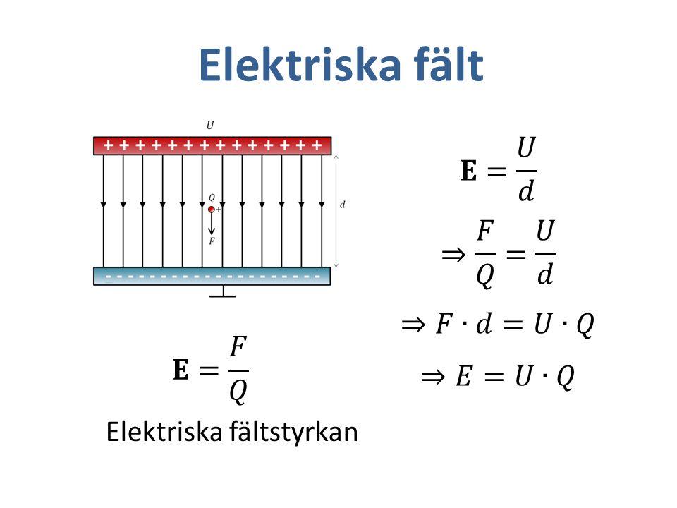 Elektriska fält 𝐄= 𝑈 𝑑 ⇒ 𝐹 𝑄 = 𝑈 𝑑 ⇒𝐹∙𝑑=𝑈∙𝑄 ⇒𝐸=𝑈∙𝑄 𝐄= 𝐹 𝑄