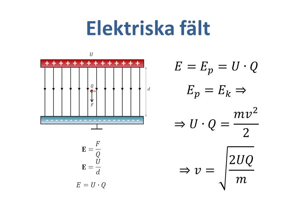 Elektriska fält 𝐸= 𝐸 𝑝 =𝑈∙𝑄 𝐸 𝑝 = 𝐸 𝑘 ⇒ ⇒𝑈∙𝑄= 𝑚 𝑣 2 2 ⇒𝑣= 2𝑈𝑄 𝑚 𝐄= 𝐹 𝑄
