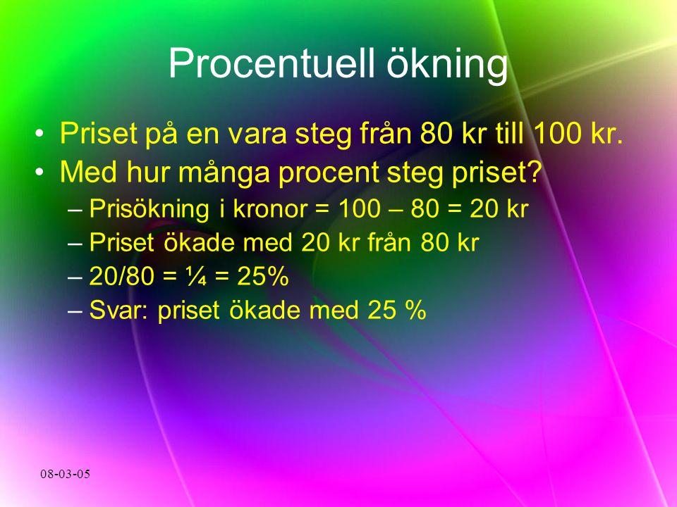 Procentuell ökning Priset på en vara steg från 80 kr till 100 kr.