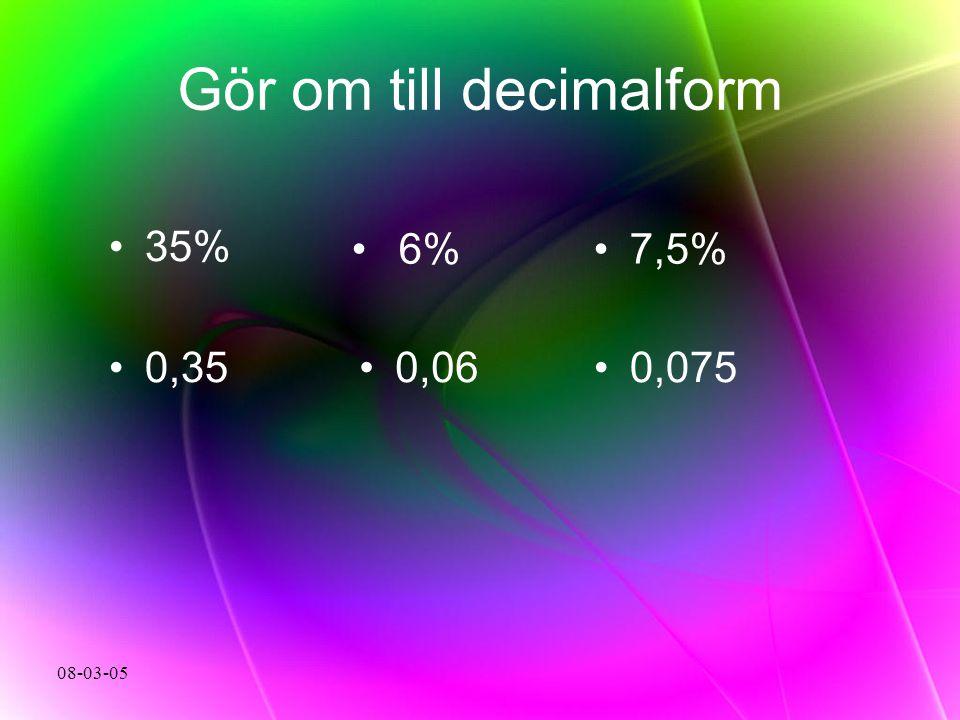 Gör om till decimalform