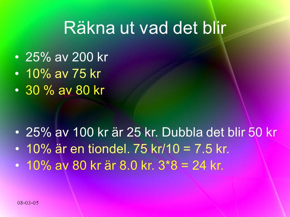 Räkna ut vad det blir 25% av 200 kr 10% av 75 kr 30 % av 80 kr