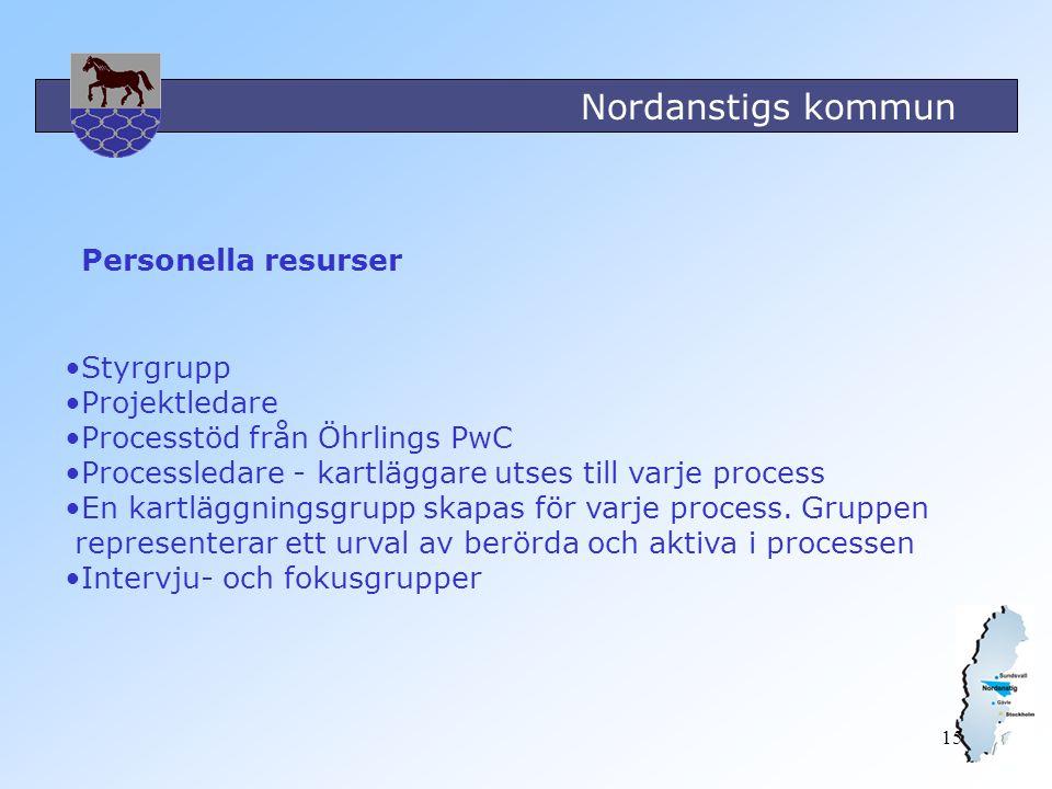Personella resurser Styrgrupp. Projektledare. Processtöd från Öhrlings PwC. Processledare - kartläggare utses till varje process.