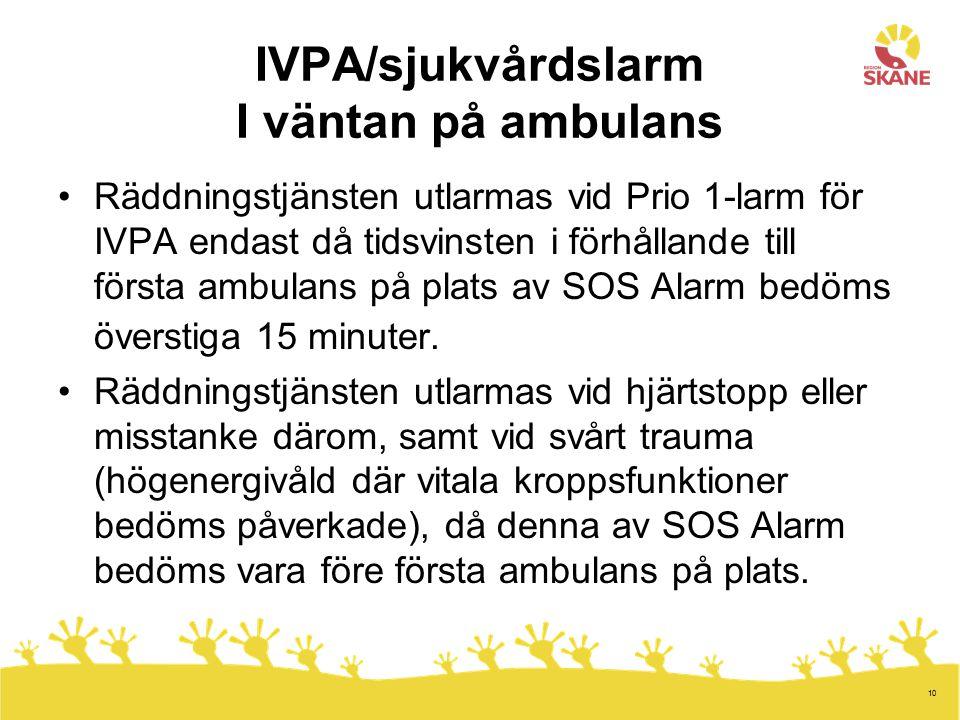 IVPA/sjukvårdslarm I väntan på ambulans