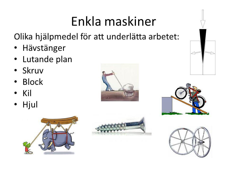 Enkla maskiner Olika hjälpmedel för att underlätta arbetet: Hävstänger