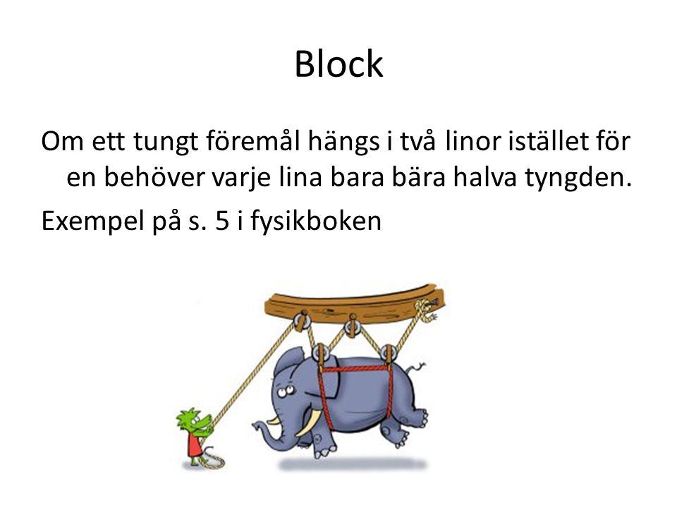 Block Om ett tungt föremål hängs i två linor istället för en behöver varje lina bara bära halva tyngden.