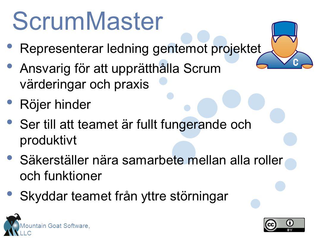 ScrumMaster Representerar ledning gentemot projektet