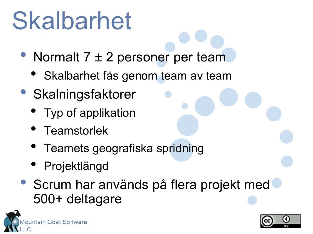 Skalbarhet Normalt 7 ± 2 personer per team Skalningsfaktorer