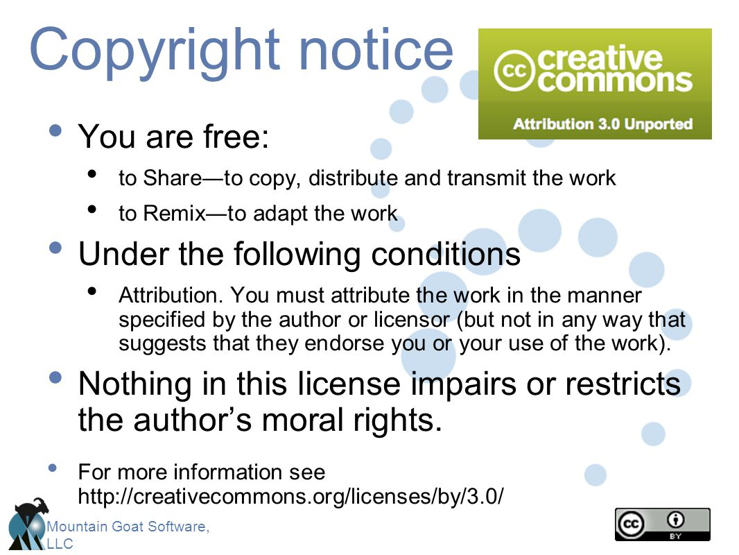 Copyright notice You are free: Under the following conditions