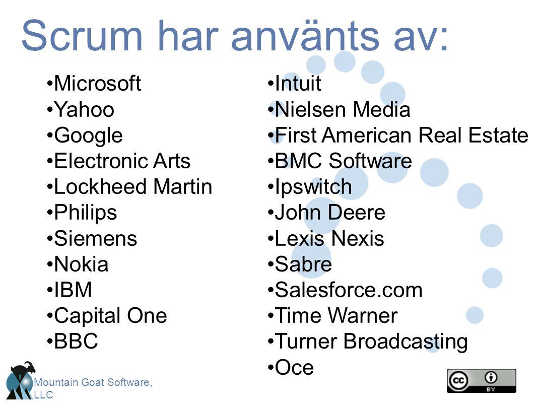 Scrum har använts av: Microsoft Yahoo Google Electronic Arts