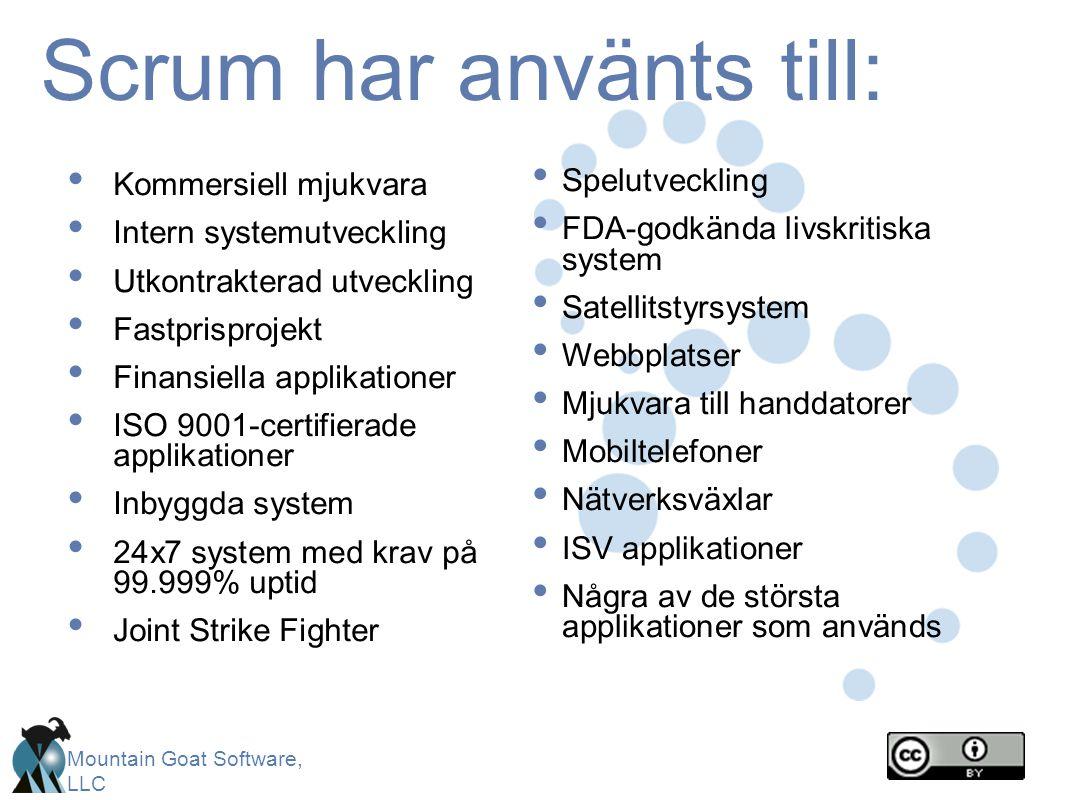Scrum har använts till:
