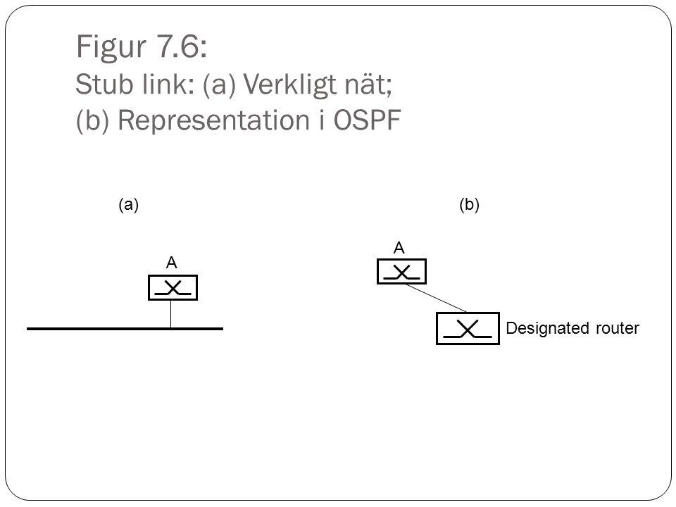 Figur 7.6: Stub link: (a) Verkligt nät; (b) Representation i OSPF