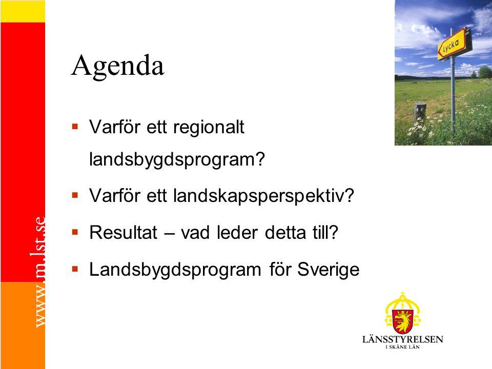 Agenda Varför ett regionalt landsbygdsprogram