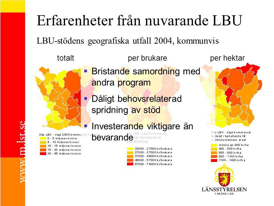 Erfarenheter från nuvarande LBU LBU-stödens geografiska utfall 2004, kommunvis