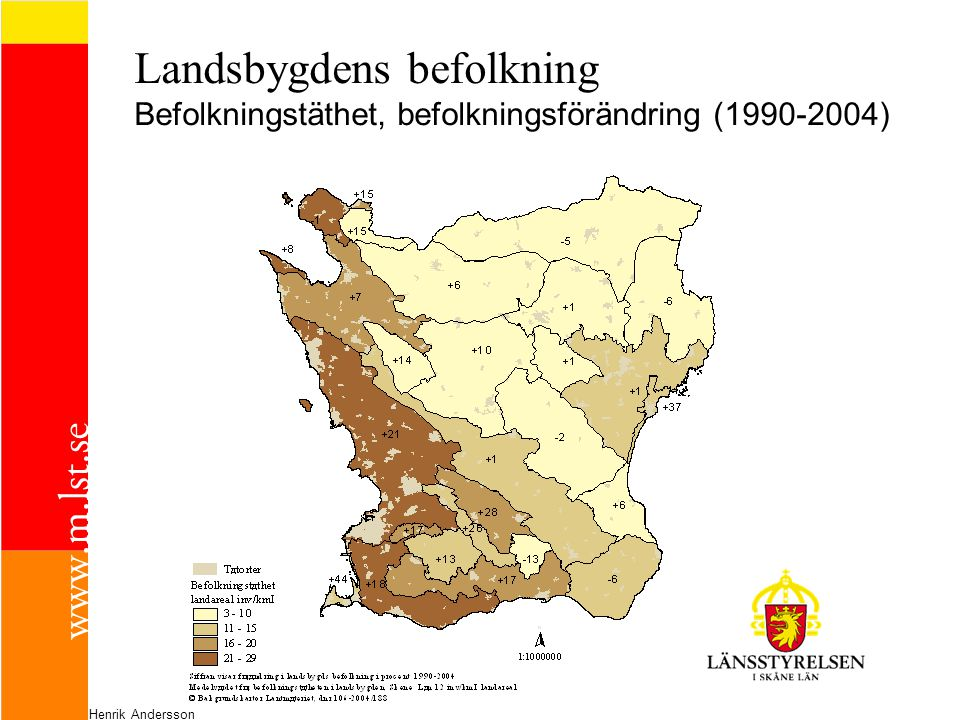 Landsbygdens befolkning Befolkningstäthet, befolkningsförändring (1990-2004)