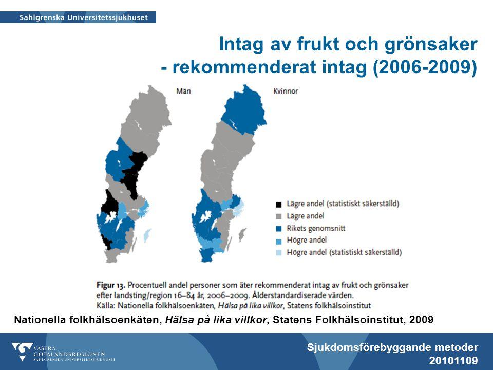 Intag av frukt och grönsaker - rekommenderat intag (2006-2009)