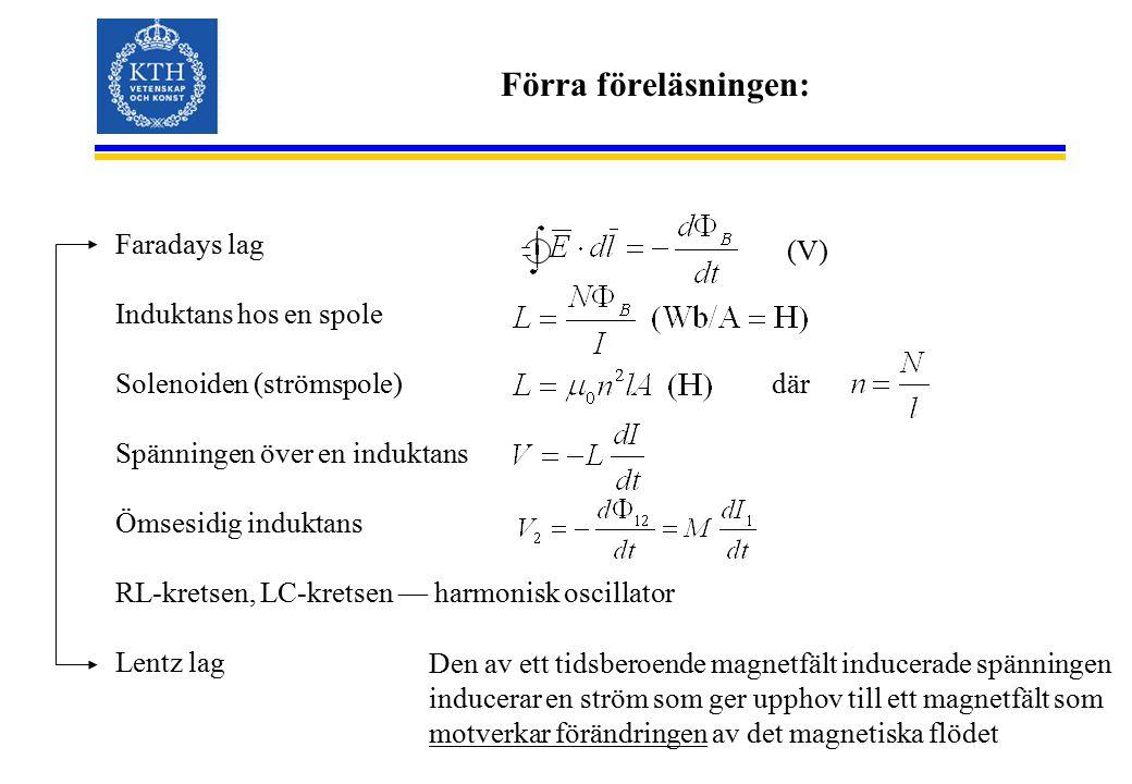 Förra föreläsningen: Faradays lag Induktans hos en spole