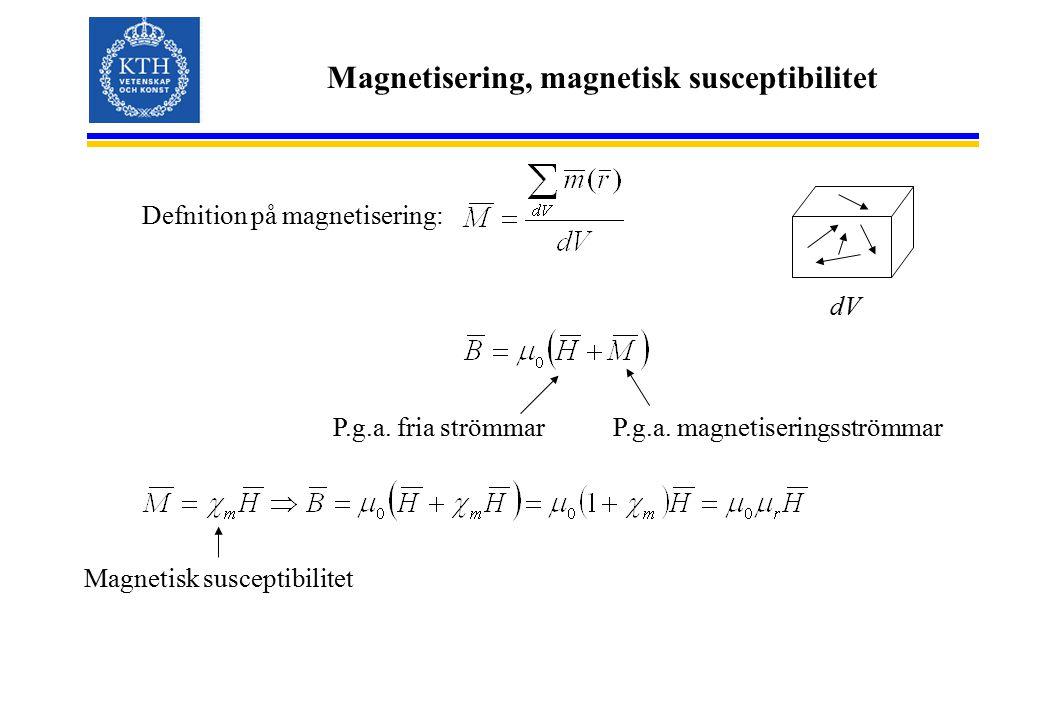 Magnetisering, magnetisk susceptibilitet
